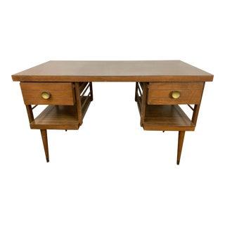 1960s Mid Century Modern Wooden Tanker Desk For Sale