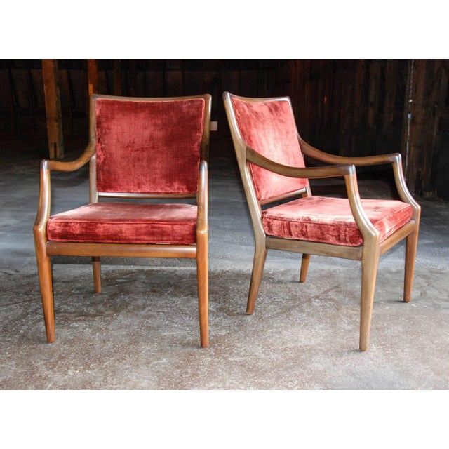 Mid-Century Modern Circa 1960 Style of T.H. Robsjohn-Gibbings Mid-Century Modern Upholstered Armchairs - A Pair For Sale - Image 3 of 8