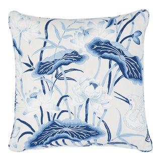 Schumacher Lotus Garden Pillow in Porcelain For Sale
