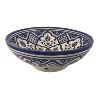 Vintage Blue and White Moroccan Pottery Bowl For Sale