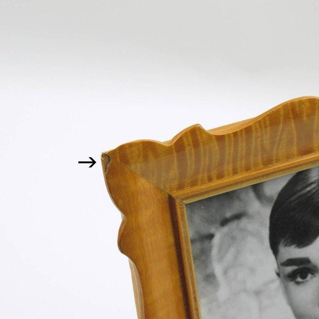 Wood Italian Sycamore Hollywood Regency Picture Photo Frame Signed For Sale - Image 7 of 8