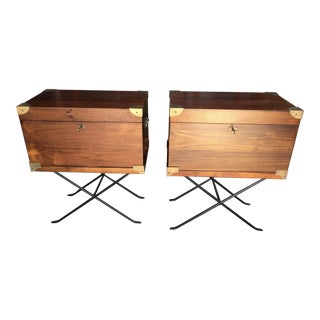 Campaign Style Chests on Stands a Pair