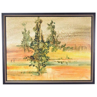Mid-Century Abstract Landscape Oil Painting Jim Simmons Taos New Mexico For Sale