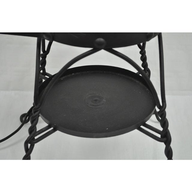 Black Antique Twisted Wrought Iron Shoe Shine Bench Oak Seat With Foot Rest Stool For Sale - Image 8 of 11