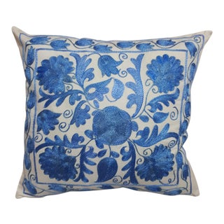 Boho Chic Blue Floral Crochet Cushion For Sale