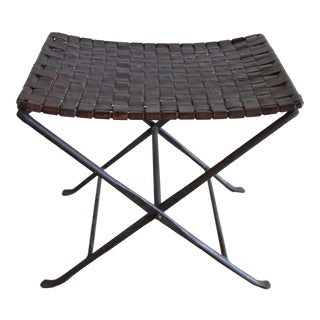1960s Mid Century Campaign Hand Forged Iron and Woven Leather X Base Bench Stool Ottoman
