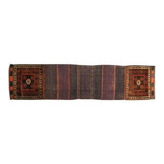 1910s Antique Brown Geometric Rug For Sale