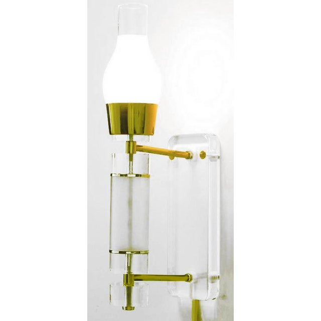 "Extraordinary Pair 24"" Lucite, Brass & Glass Wall Sconces For Sale - Image 4 of 7"