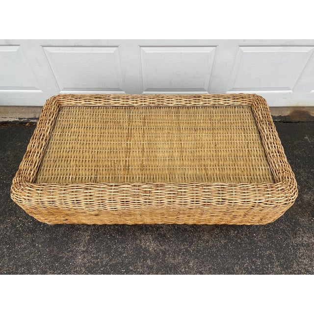 Mid 20th Century Natural Woven Rattan and Glass Plinth Coffee Table For Sale - Image 5 of 8