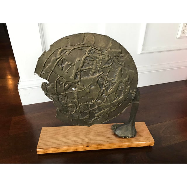 Vintage Mid Century Modern Bronze Metal and Wood Abstract Sculpture For Sale - Image 4 of 12