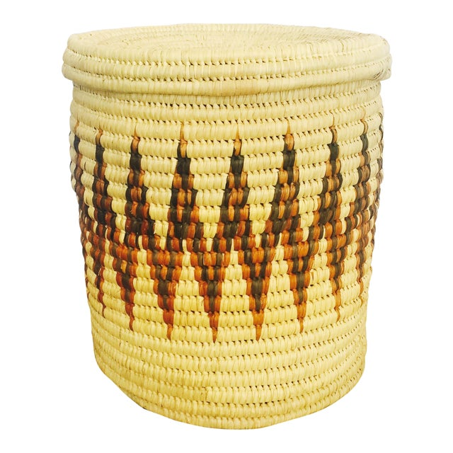 Large Vintage Coil Basket or Hamper - Image 1 of 6