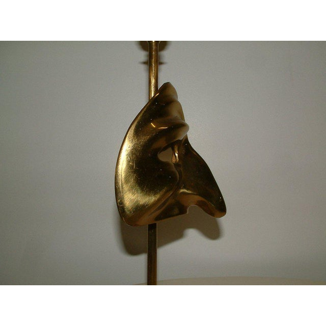 Brass Commedia Dell'Arte Brass Mask Table Lamp For Sale - Image 7 of 9