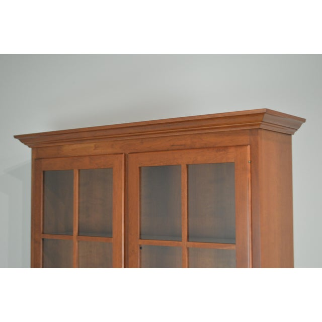 Woxall Woodcraft Hand Crafted Solid Cherry China Cabinet Hutch For Sale - Image 9 of 12