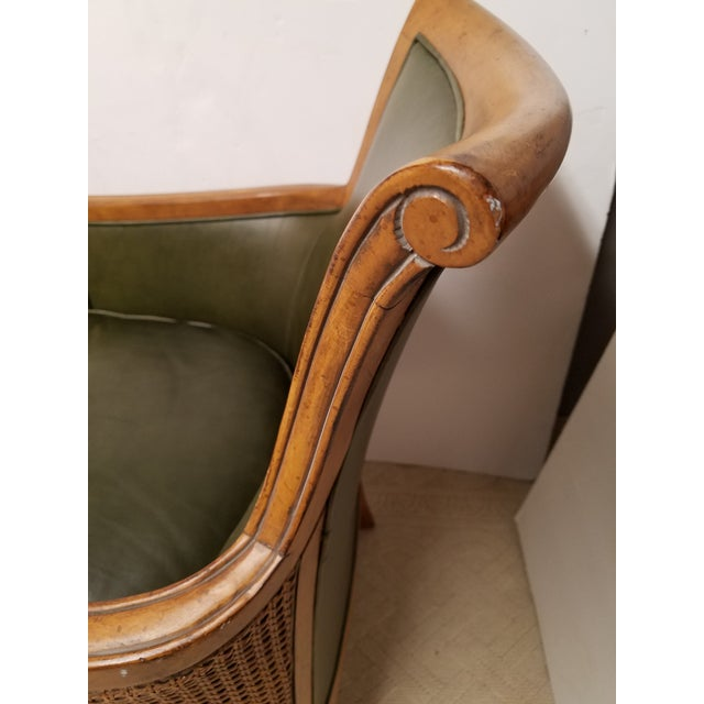 Neoclassical Style Olive Green Leather and Cane Fruitwood Armchair by Lexington Furniture - Image 6 of 7