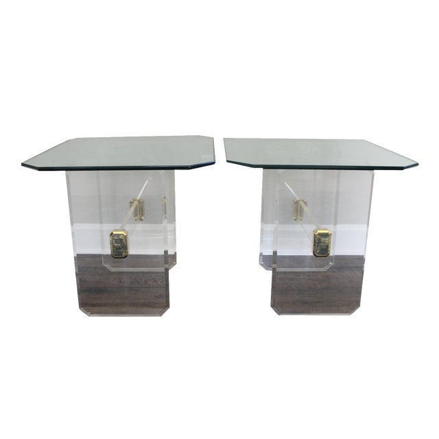 Vintage Lucite Brass and Glass End Tables - Pair - Image 1 of 11