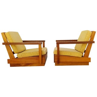 Mid-Century Lounge Chairs in Solid Koa For Sale