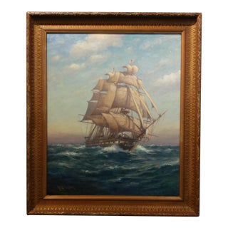 """Myron Mark - Sailing Ship at Sea flying the American Flag -Beautiful Oil Painting-c.1900 frame size 25 x 30"""" canvas"""