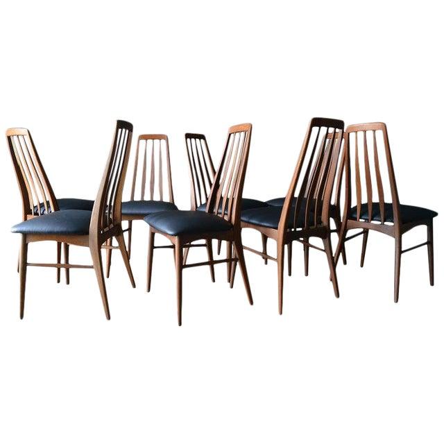 "1960s Vintage Koefoed of Denmark Walnut High Back ""Eva"" Dining Chairs - Set of 8 For Sale"