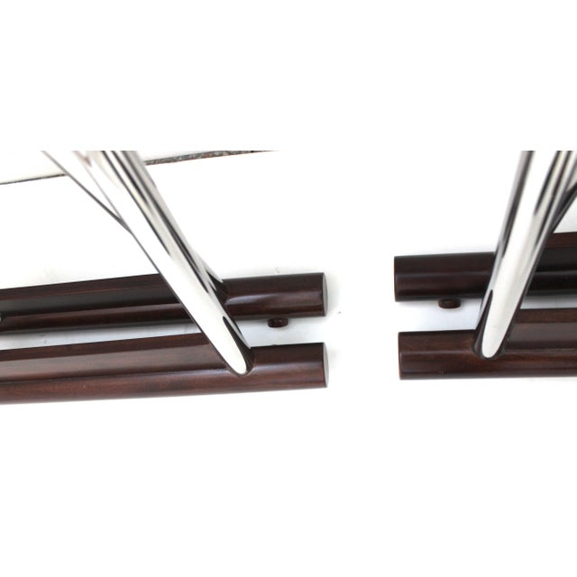 Vintage Folding X-Sling Stools in Leather, Stainless Steel and Mahogany a Pair For Sale - Image 10 of 13