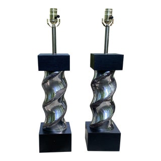 Handcrafted Steel Spiral Lamps - a Pair For Sale