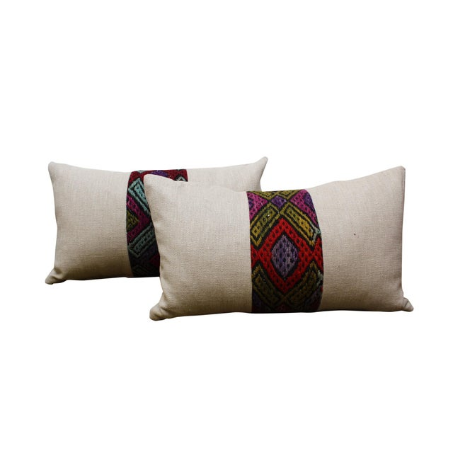Boho Chic Kilim Band Kidney Pillow For Sale - Image 3 of 5