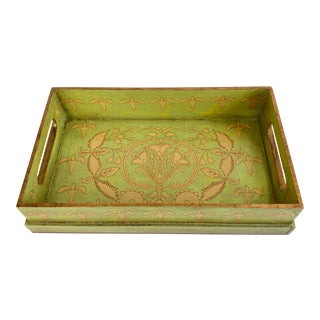 Art Nouveau Green Tole Vanity Tray For Sale