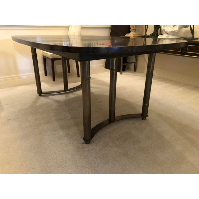Metal Mastercraft Burl Wood and Brass Dining Table For Sale - Image 7 of 9