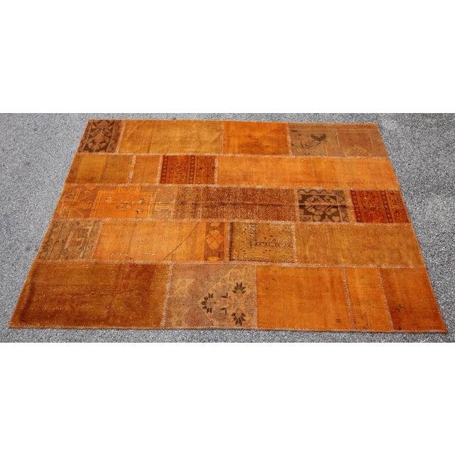 Vintage Turkish Overdyed Orange Patchwork Rug - 5′8″ × 7′11″ - Image 2 of 6