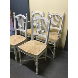 Late 20th Century Rush-Seat French Painted Chairs- Set of 4 Preview