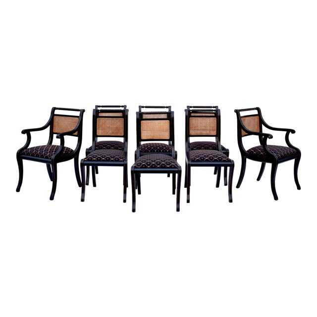 Regency Double Caned Dining Chairs Made in Italy, Set of 8 For Sale