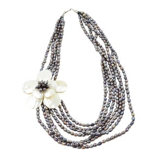 Multi Strand Necklace Gray Fresh Water Pearl and Mother of Pearl Floral Pendant For Sale