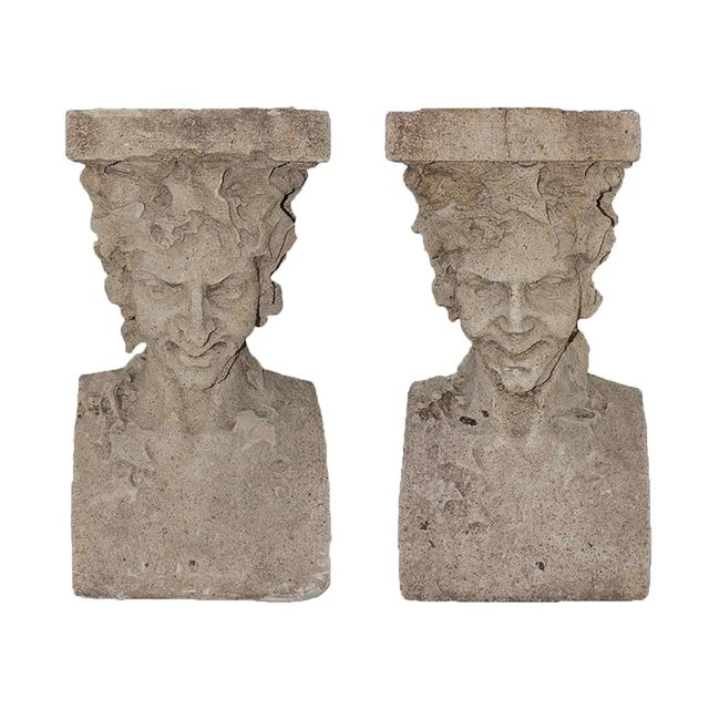 Late 19th Century Cast Stone Pedestals With Figural Bust and Foliate Design - a Pair For Sale - Image 11 of 11