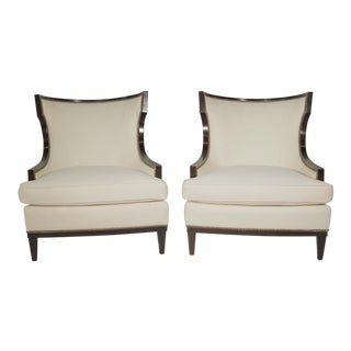 20th Century Modern Barbara Barry Linen Upholstered Club Chairs - a Pair