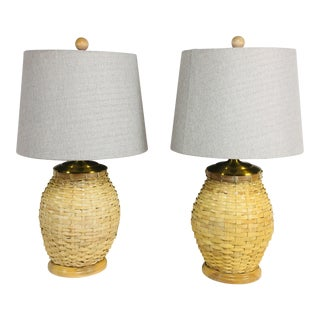 1970 Split Bamboo Barrel Yellow Wicker Lamps - a Pair