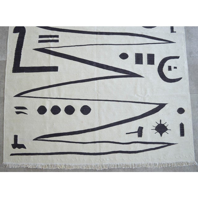 Tan Paul Klee - Heroic Strokes of the Bow - Inspired Silk Hand Woven Area - Wall Rug 4′7″ × 6′4″ For Sale - Image 8 of 12