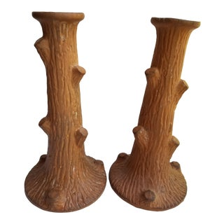 1970s Vintage Larry Lazlo Terra Cotta Twig Candle Holders - a Pair