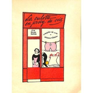 Paris Storefront, French Lithograph, La Culotte en Jersey De Soie, Guilac 1925, Matted For Sale