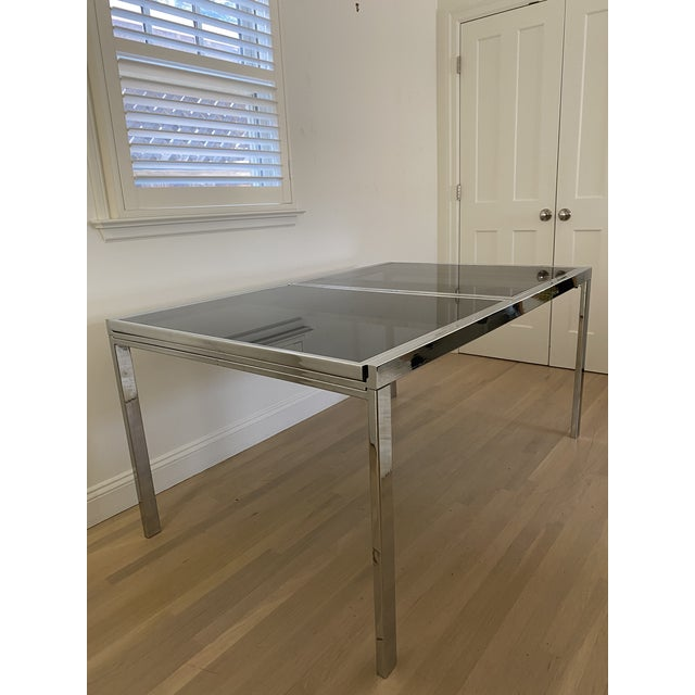 Dark Gray 1970's Chrome and Smoked Glass Extension Dining Table by Milo Baughman For Sale - Image 8 of 13