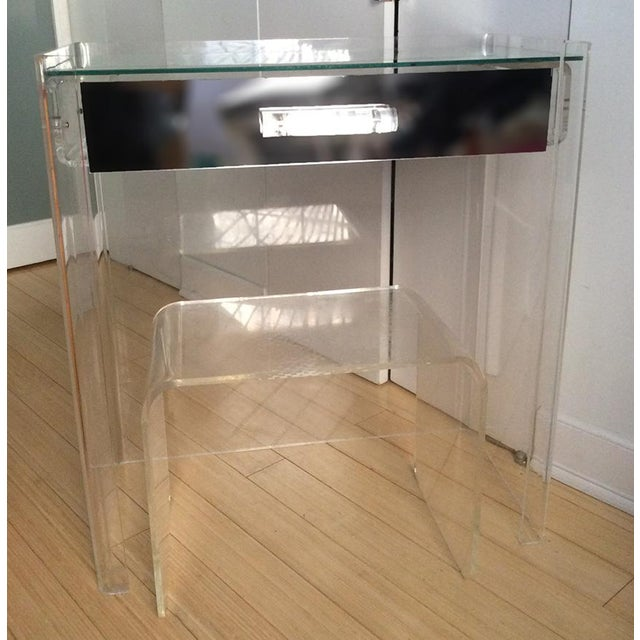 Lucite Mirrored-Drawer Vanity & Stool - A Pair - Image 13 of 13