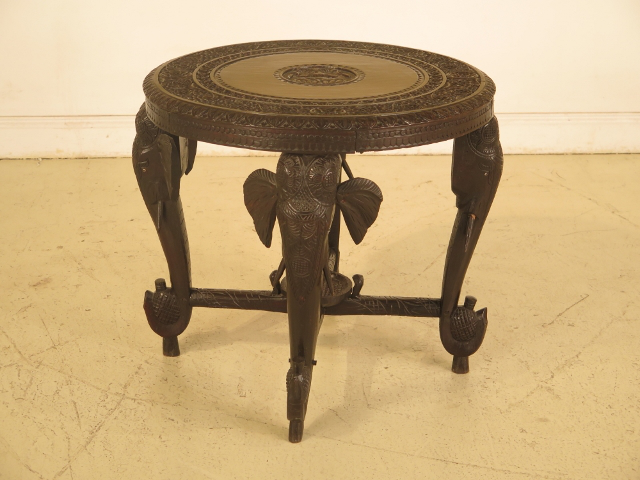 Chinese Antique Carved Elephant Round Occasional Table Chairish Rh Com Hand Coffee Tables