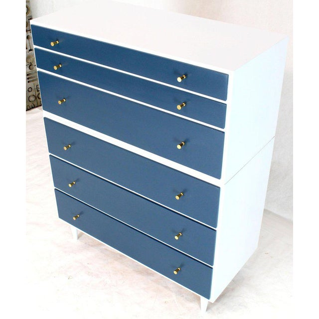 1970s White and Blue High Chest on Chest Two Pieces McCobb Dresser Cabinet Six Drawers For Sale - Image 5 of 12