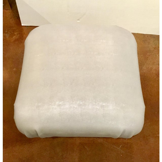 Original Retail $1557, stylish contemporary Worlds Away Sydney Ottoman, cascading cushion upholstered in a faux silver-...