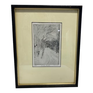 """1970s """"Winter Birches"""" Abstract Landscape Etching by Don Swann Jr., Framed For Sale"""