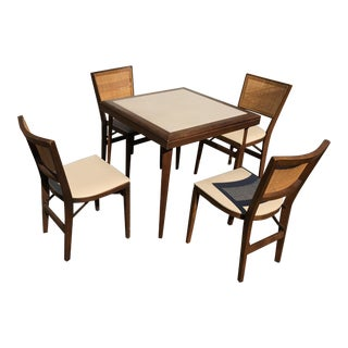 Vintage Mid-Century Modern Cane Game Folding Card Table Set - 5 Pieces For Sale