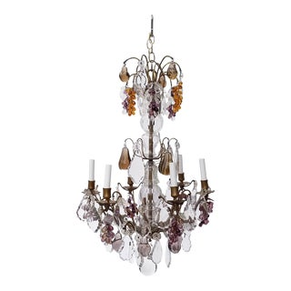 Antique Six Light Chandelier With Glass Fruit and Crystals For Sale
