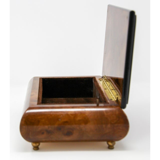 Footed Wooden Jewelry Music Box Made in Italy For Sale - Image 9 of 13