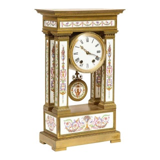 French Ormolu and Porcelain Clock, attributed to Deniere For Sale