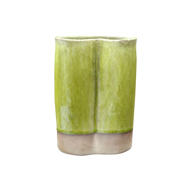 French Ceramic Chartreuse Green Vase JARS France - Image 1 of 8