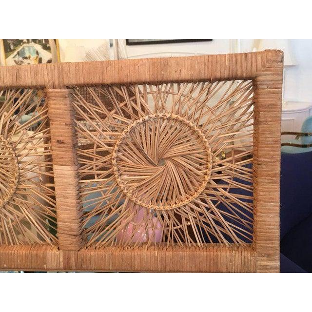 Rattan Boho Tropical Palm Beach Bamboo Oversized Wall Mirror - Image 4 of 11