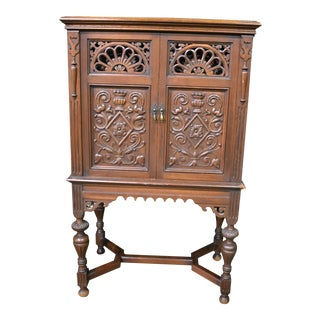 Antique Carved Oak Cabinet, Signed Lightolier For Sale